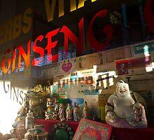 Smiling Buddha in a store window by Sven Brogren