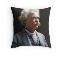 Colorized  - Mark Twain / Samuel L Clemens Throw Pillow
