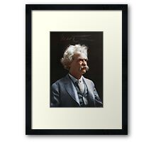 Colorized  - Mark Twain / Samuel L Clemens with signature Framed Print