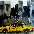 ACEO Original Oil Painting - New York City Taxi by Jim Lagassse