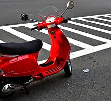 Red Vespa Scooter about to embark by peterrobinsonjr
