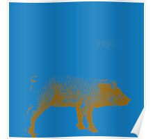 Blue Pig Poster