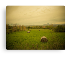 Hay Bales in a Farmer's Field ~ Vintage Photography Canvas Print