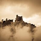 Corfe castle with clouds, smoke and steam by herbpayne
