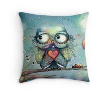 little wood owl Throw Pillow