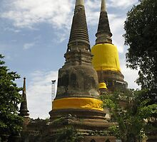 Ancient Pagoda Ruin in yellow cloth by Thana