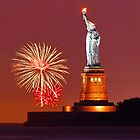 Statue Of Liberty With Fireworks by Zoltán Duray