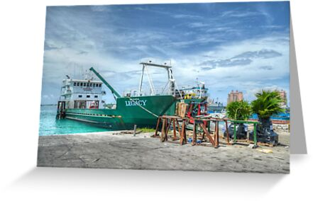 Cargo boat at Potter's Cay loading freight to deliver in the Family Island - Nassau, The Bahamas by 242Digital