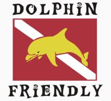 Dolphin Friendly SCUBA  Flag by SportsT-Shirts