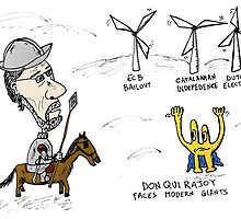 Mario Rajoy Don Quixote caricature by Binary-Options