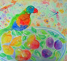 Parrot and Pears by Nicky Perryman