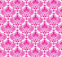 Pink & White Vintage Floral Damasks Pattern by artonwear