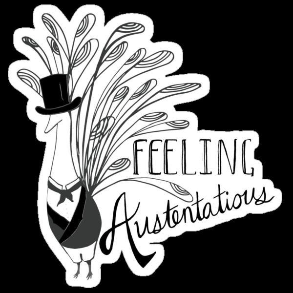 Peacock & Prejudice - Sticker Version by 4everYA