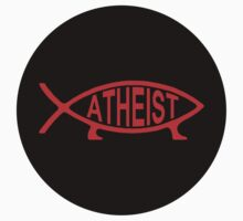Atheist Fish - sticker red on black by portispolitics