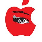 Isee red apple with an eye vector by Veera Pfaffli