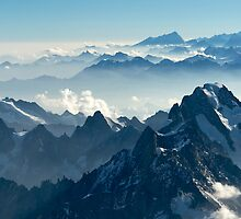 Grandes Jorasses from Mont Blanc I by Tom Fahy