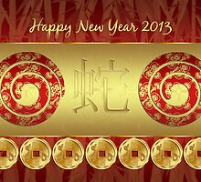 Chinese Year Of The Snake - Chinese New Year Card by Moonlake