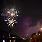 Lightning &amp; Fireworks on the Kanawha River by Tiffany Bailey