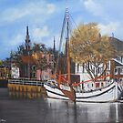 Fishing Harbor, Vollendam, Holland C 1600's by Jsimone