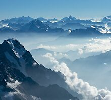 Grandes Jorasses from Mont Blanc II by Tom Fahy
