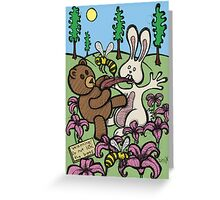 Teddy Bear And Bunny - Do Not Lick The Bees Greeting Card