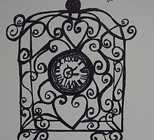 Tick Tock Wire Clock  by Kim  Magee