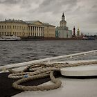 St Petersburg - Canal Boat Rope by Derek  Rogers