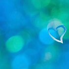 Abstract blue circles and heart love pattern design by campyphotos