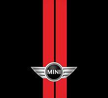 Mini Cooper Stripes - Black & Red by mrmini