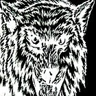 angry wolf white on black by daniel lamb