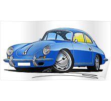 Porsche 356 C Blue Poster