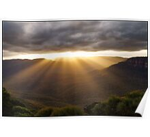 Sun Rays at Flat Rock Poster