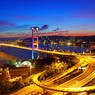 Tsing Ma Bridge at sunset moment in Hong Kong by kawing921