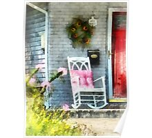 Rocking Chair With Pink Pillow Poster