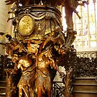 Gilded oak wood carved pulpit, bottom half, Brussels Cathedral.  by Grace Johnson