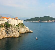 View Toward old Town Dubrovnik and Island Lokrum by kirilart