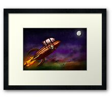 Flying Pig - Rocket - To the moon or bust Framed Print