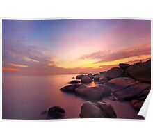 Sunset over the ocean. Nature composition under long exposure. Poster