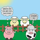 Rudy the Pig & Moody the Cow - Woolly Hat Humour by Catherine Roberts