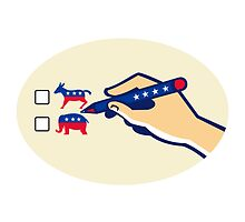 Hand Holding Pen Voting American Election by patrimonio