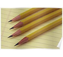 Four Pencils on Yellow Legal Pad Poster