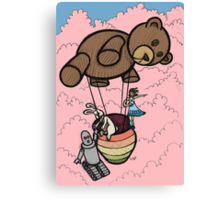 Teddy Bear And Bunny - Cotton Candy Clouds Canvas Print