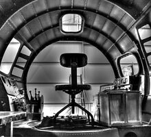 B-17 Cockpit Under Restoration B&W by Michael  Herrfurth