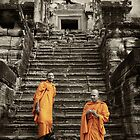 Buddhist Monks at Angkor Wat - Cambodia by Malcolm Heberle