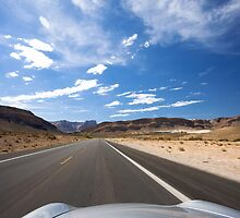 Car travelling fast along tarmac road, USA by Sharpeyeimages