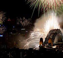 Spectacular fireworks display over Sydney Harbour Bridge, Australia by Sharpeyeimages