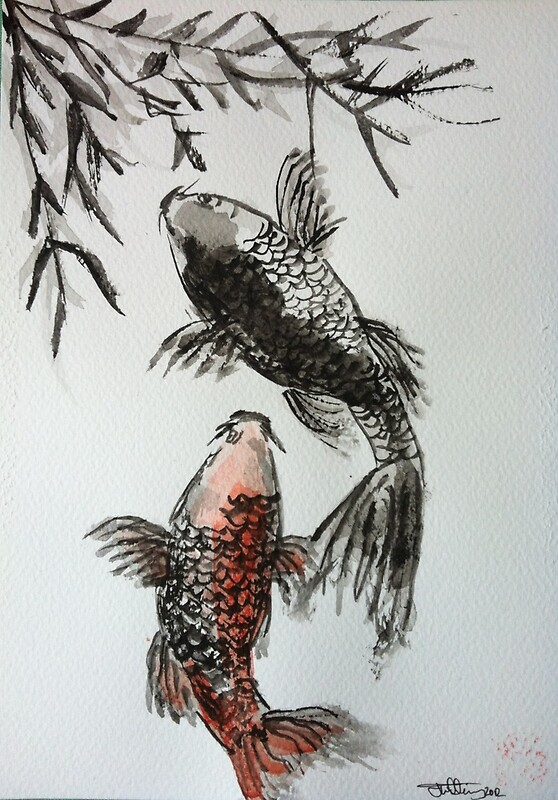 Japanese style sumi e koi carp watercolour painting by for Japanese koi carp paintings