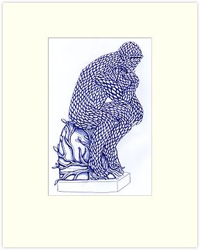 The Thinker in Blue by Donna Huntriss