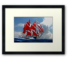 The Clipper Ship Indian Queen Races for Home Framed Print