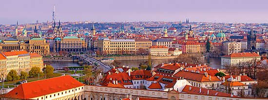 Panoramic Postcard from Prague by Keld Bach